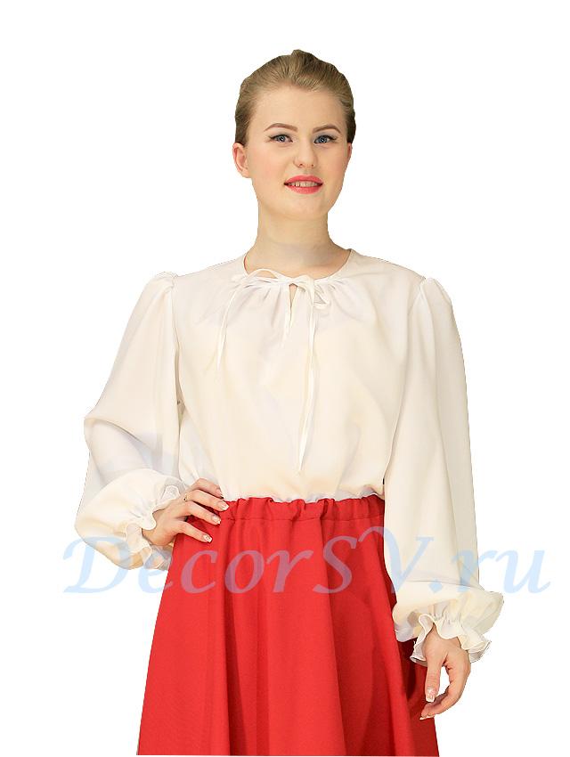 0414384ea09 Блуза для русского костюма из белой ткани. Без рисунка.