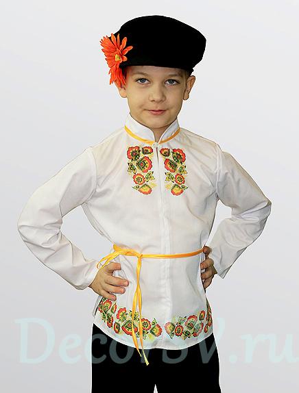 """55722bc503a5 Русский народный костюм для мальчика в стиле """"Хохлома"""" (рубаха, штаны, кепка"""